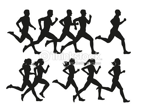 Running people, vector isolated silhouettes. Run, men and women : arte vetorial