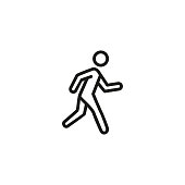 Running person line icon. Exit, activity, speed. Marathon concept. Vector illustration can be used for topics like workout, sport, healthy lifestyle