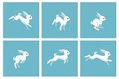 Running rabbit animation sprite with blue frames. Vector illustration
