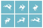 Running rabbit animation sprite with blue frames. Vector illustration