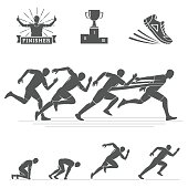 Running silhouettes set. Run club labels, emblems and design elements. Vector Illustration.