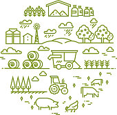 Rural landscape and agriculture farming thin line icons. Farm round badge with chicken and agriculture illustration