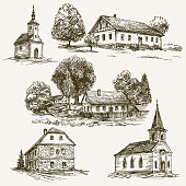 Rural village landscape, farm. Hand drawn set.