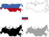 Russia country black silhouette and with flag on background, isolated on white