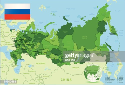Map Of Russia States Cities Flag Navigation Icons Vector Art - Detailed map of russia