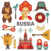 Vector collection of Russian culture and nature images, including St. Basil's Cathedral,  russian doll, balalaika, borsch, portrait of Russian beauty in kokoshnik. Isolated on white.