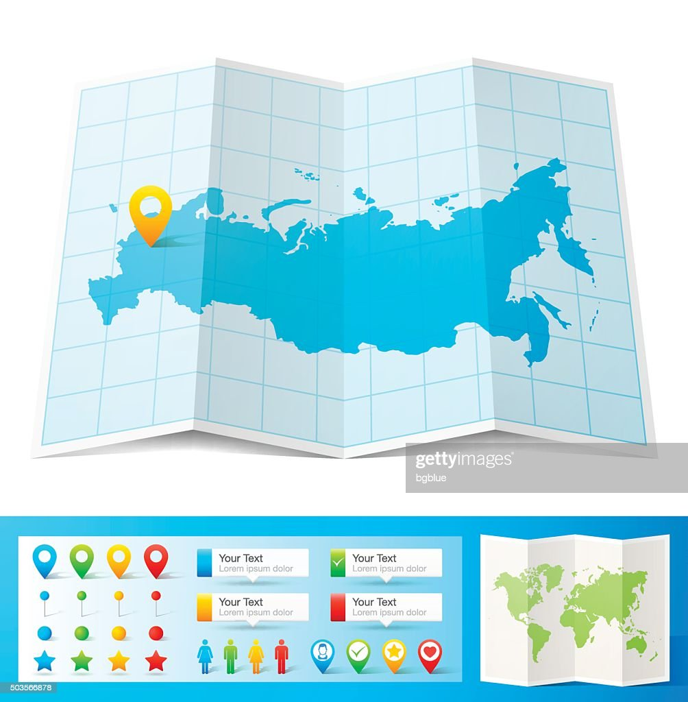 Russia Map With Location Pins Isolated On White Background Vector - Russia location