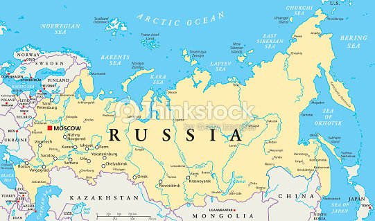 Russia Political Map Vector Art Thinkstock - Moscow russia on world map