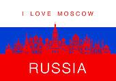Russia Travel Landmarks. Vector and Illustration
