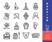 Russian culture black thin line icons. Russian traditional symbols Matryoshka doll, Concertina, Samovar, Balalaika, Ornament. Bear, Russian vodka, USSR Hammer and Sickle signs. Vector illustration
