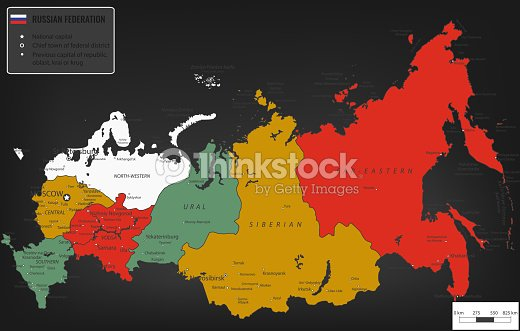 Russian Federation Map With Selectable Territories Vector stock ...