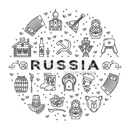 russian line icons circle infographics russian traditional symbols flag food matryoshka doll