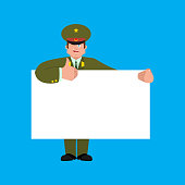 Russian Officer holding banner blank. Soldier and white blank. thumb up and winks joyful emotion Military in Russia. Illustration for 23 February. Defender of Fatherland Day. Army holiday for Russian