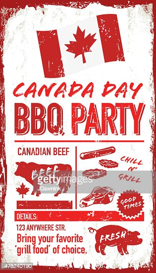 rustic canada day picnic or bbq invitation design template vector art getty images. Black Bedroom Furniture Sets. Home Design Ideas