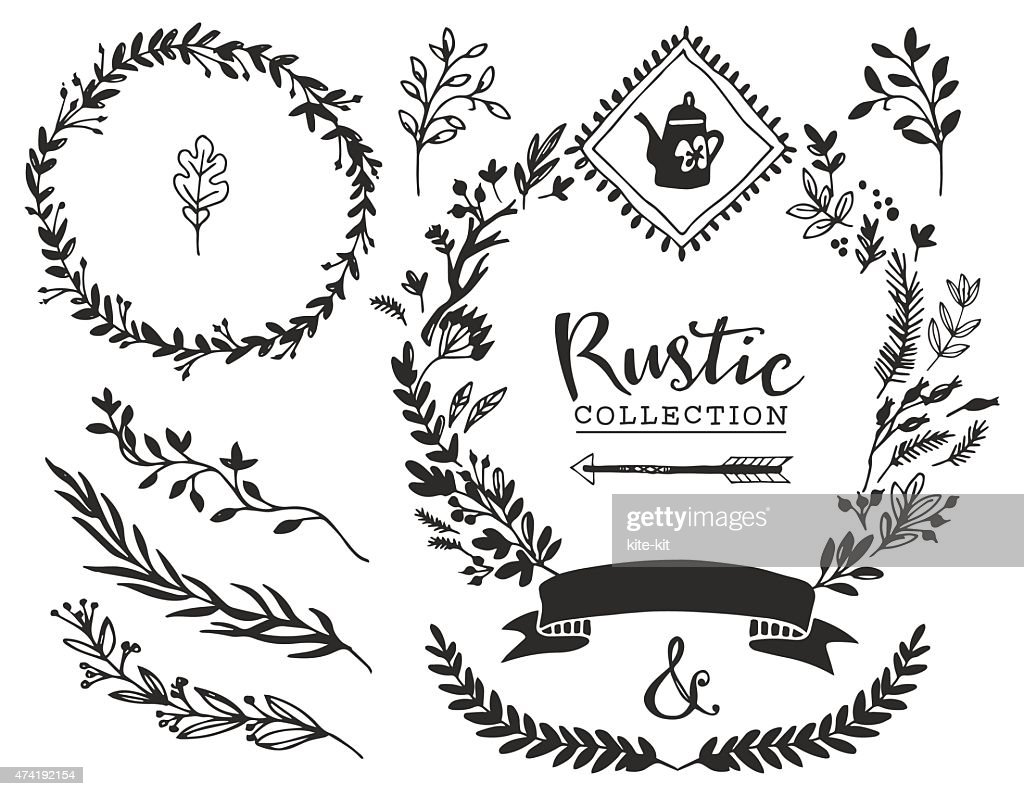 Rustic Decorative Elements With Lettering Vector Art Thinkstock Rh Thinkstockphotos Co Uk Flower Border Vintage Gold