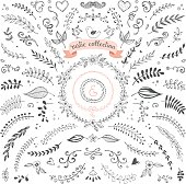 Rustic hand sketched elements. Floral doodles, laurels, graphic elements, banners and frames for use in your logos, branding and design projects. Good for greeting cards, wedding invitations and scrap