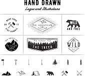 6 pre-made logos and 13 hand drawn illustrations.