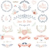 Rustic hand sketched wedding elements set. Floral doodles, leaves, branches, flowers, birds, laurels, banners and frames. Good for Save the Date cards and invitations, Wedding invitations, Thank You c