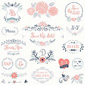 Hand drawn rustic wedding collection with typographic design elements. Ornate motives, branches, wreaths, monograms, frames and flowers.