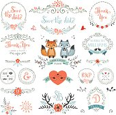 Hand drawn rustic Save the Date and Wedding collection with typographic design elements. Ornate motives, branches, wreaths, monograms, frames, fox couple, birds, antlers and flowers. Vector illustrati
