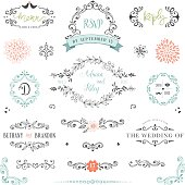 Hand drawn rustic Save the Date and Wedding collection with typographic design elements. Ornate motives, branches, wreaths, monograms, frames and flowers. Use for invitations, menu, thank you, reply,
