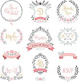 Floral wreaths, monograms and frames collection. Set of cute hand drawing retro rustic design elements perfect for wedding invitations, save the date, thank you, menu, reply, birthday and greeting car