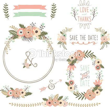 Rustic Wedding Flower Wreath Illustration Vector Art