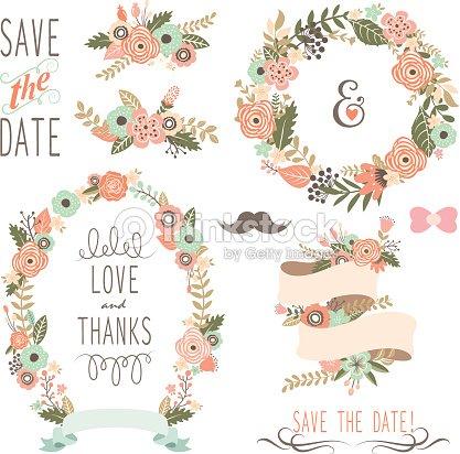 Rustic Wedding Flowers Wreath Illustration Vector Art