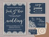 Rustic Wedding Invitation Design Template. Include RSVP card, Save the date card, thank you tags. Vintage Round Mandala Ornamental. Vector illustration.