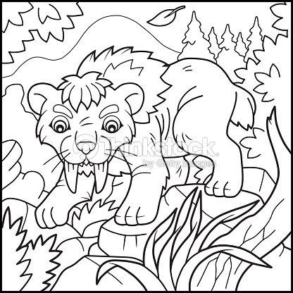 Tigre Dientes De Sable Para Colorear Libro Arte vectorial   Thinkstock
