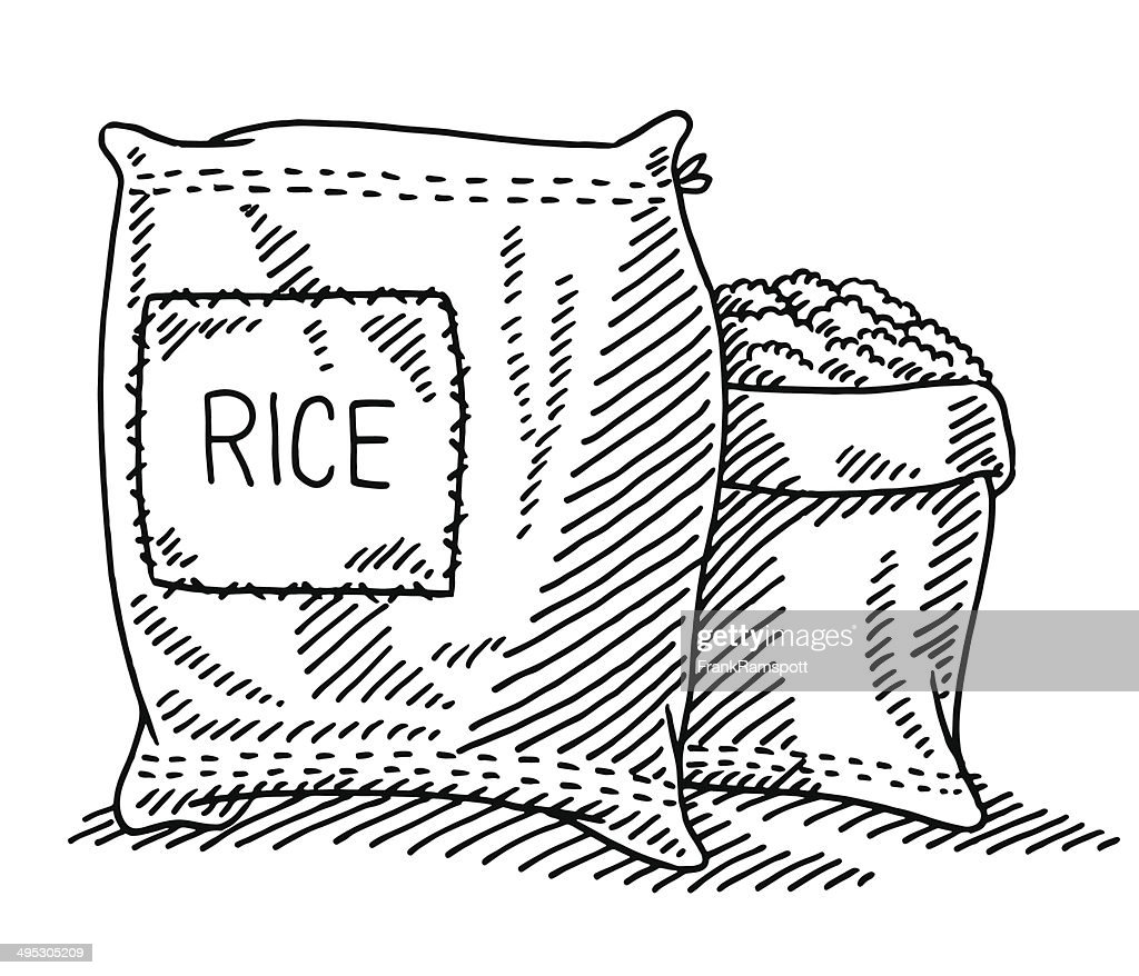 Sack Of Rice Drawing Vector Art Getty Images