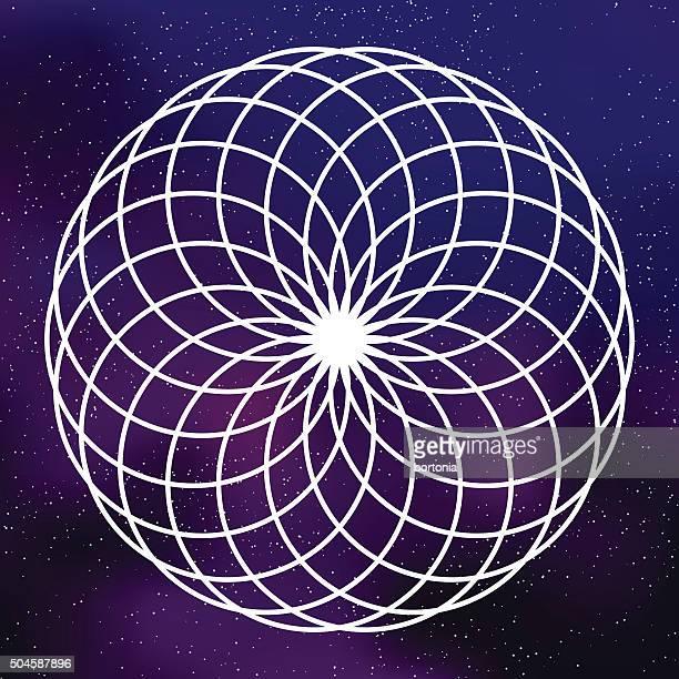 Heilige Geometrie Kreis-Symbol auf galaktische Hintergrund