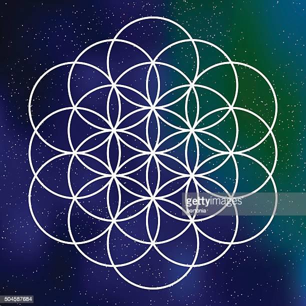 Heilige Geometrie-Blume des Lebens-Symbol auf galaktische Hintergrund