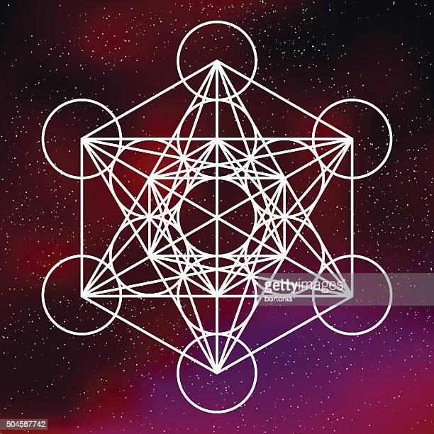 Heilige Geometrie-Symbol Metatron's Cube auf galaktische Hintergrund