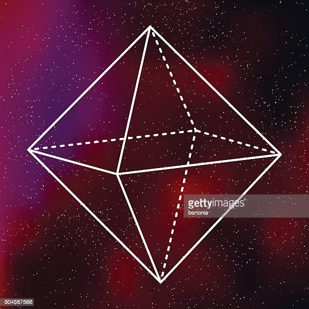 Octohedron Heilige Geometrie-Symbol auf galaktische Hintergrund