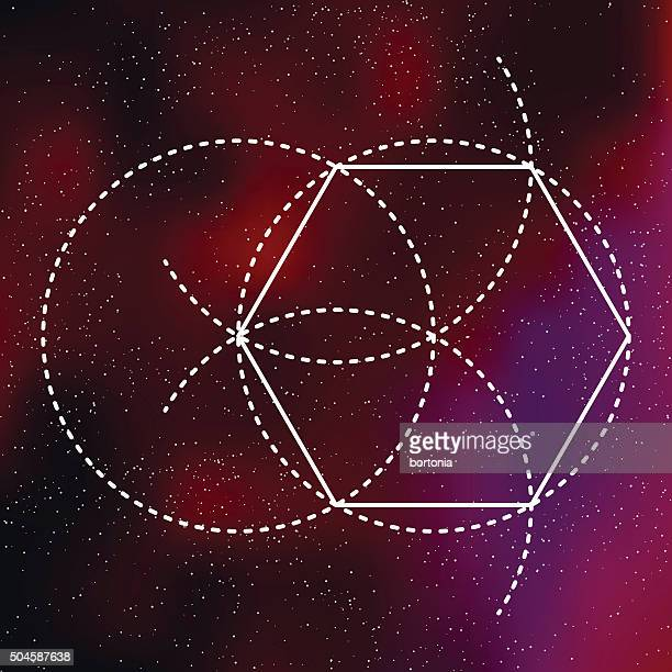 Heilige Geometrie Pentagon-Symbol auf galaktische Hintergrund