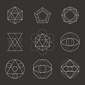 Sacred Geometry Shapes. Spirituality, Alchemy, Religion, Hipster Symbols. Vector.