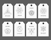 Sacred geometry signs labels set. Linear Modern Art. Vector illustration