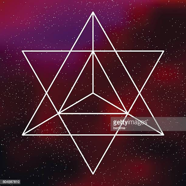 Heilige Geometrie-Symbol Tetrahedron auf galaktische Hintergrund