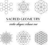 Set of Sacred Geometry Art. Geometric Vector Art