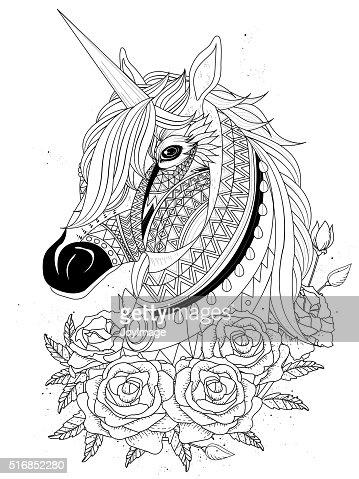 Sacro Unicorno Da Colorare Pagina Arte Vettoriale Thinkstock