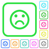 Sad emoticon vivid colored flat icons in curved borders on white background