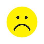 Sad face icon. Unhappy face symbol. Flat stile. Vector illustration.