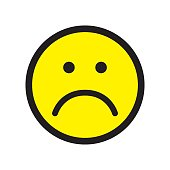 Sad face icon. Unhappy face symbol. Flat stile. Vector illustration.