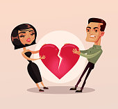 Sad unhappy couple man and woman family wife and husband character quarrel and pulling heart and broke. Relationship problems separation lovers misunderstanding. Vector flat cartoon isolated illustrat