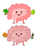 Sad unhealthy sick Intestine with bottle of alcohol and smoking cigarette,burger and strong healthy happy Intestine with broccoli and apple. Vector modern cartoon character illustration icon design.
