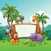 Safari animals board, vector art cartoon style