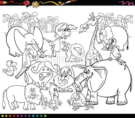 Animales De Safari Libro Para Colorear Arte vectorial | Thinkstock