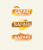 Safari Outdoor Adventure Vector Design Elements. Natural Grunge Concept on Recycled Paper Background.
