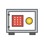 safe box, bank and financial related icon, filled outline editable stroke